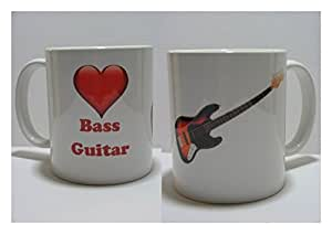 """Guitare basse en forme de cœur Motif I Love guitare basse à 11 oz tasse en céramique Motif """"Music"""""""