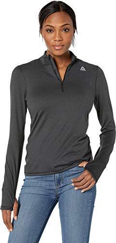 Reebok Damen Running Essentials 1/4 Zip Sweatshirt Langärmelig, schwarz, XXS -