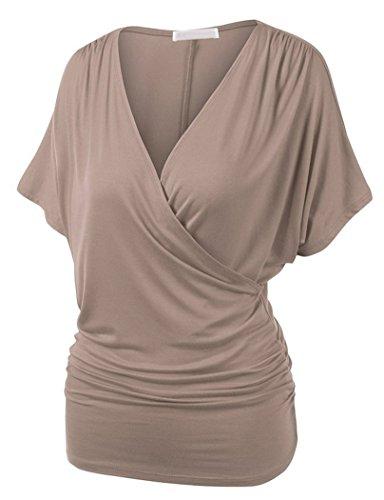 Femme Top Manches Chauve-Souris T-shirt Extensible Grande Taille Tunique Croix Avant Kaki