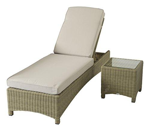 Naunton Manor Woven Lounger With Cushion And Coffee Table Garden Rattan Furniture