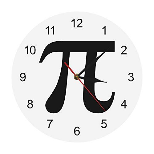XINTANG Wanduhr 3D Pi Symbol Geek Pi 3,14 Silhouette Wanduhr mathematisches Zeichen Pi 3,14 Leben von Pi minimalistischen Mathematik Wanduhr Mathe schickes Geschenk