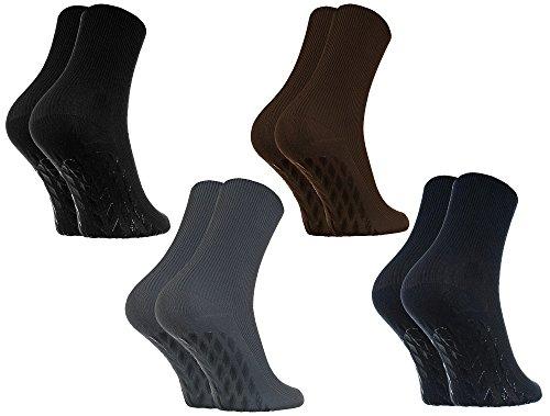 Rainbow Socks - Damen Herren Antirutsch Diabetiker Socken Ohne Gummibund ABS - 4 Paar - Schwarz Braun Blau Graphit - Größen EU 44-46