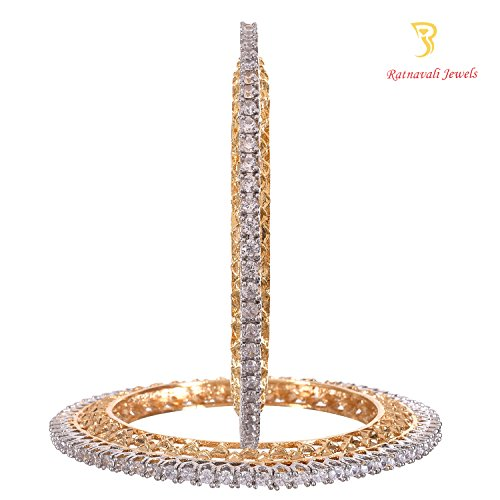 Ratnavali jewels American Diamond Studded Gold Plated Traditional Bold White CZ/Diamond Bangles Pacheli kada for Women/Girls RV2193