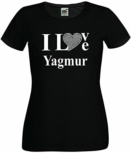 T-Shirt I Love Yagmur mit einer Strassaplikation / Strassherz Weiß