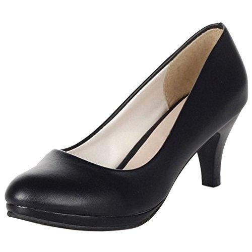 TAOFFEN Damen Klassischer Schlupfschuhe Blockabsatz Pumps Ladies Office Dress Schuhen 852 Schwarz