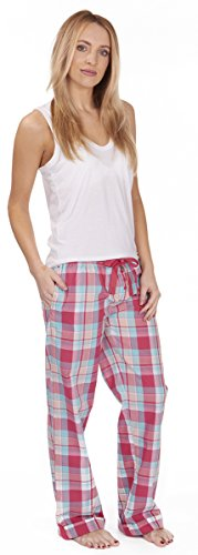 FOREVER DREAMING Woven Pantalon de Pyjama Turn Up Taille S-XL Noir - Pink Check