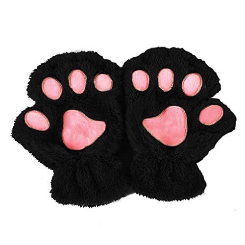 RGJKW Winterfrauen Nette Katze Paw Klaue Handschuhe Kurzer Fingerloser Finger Halbhandschuhe, Schwarz (Schwarze Klaue Motorrad Handschuhe)