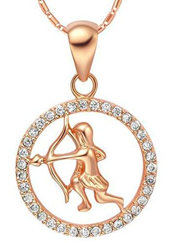 AMDXD Schmuck Herren Damen Kette Rosegold Vergoldet 12 Sternzeichen Kette mit Schütze Anhänger Halskette Rose Gold Kette 50-60CM