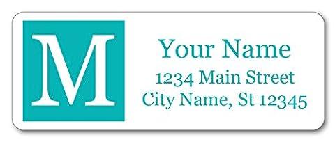 Guajolote Prints Personalized Return Address Labels - Turquoise Monogram Design - 120 Custom Gift