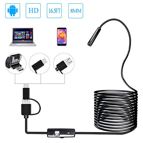 PiAEK Endoskop Android 3 in 1 USB/Micro USB/Type-C Inspektionskamera 2.0 Megapixel HD USB Endoskope Waterproof Endoskopkamera Semi-Rigid Cable für Android/Windows/Mac OS Computer -16.4ft (5M) -