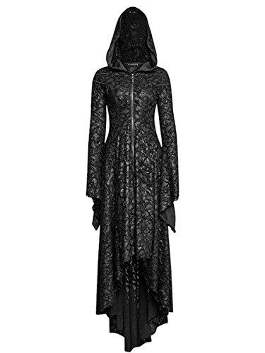 Dark Dreams Gothic Steampunk Neo Victorian Vampir Witchy Pagan Mantel Kleid Kapuze Punk Rave Dark Tales M L XL XXL, Größe:XL/XXL