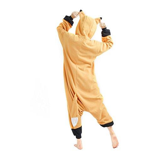 YARBAR Onesies animaux Cosplay unisexe pyjama adulte costume d'Halloween d'orange jumpsuit Kigurumi Fox Carnaval Orange