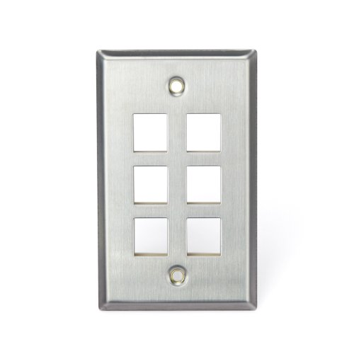 Leviton 43080-1S6 QuickPort Wallplate, Single Gang, 6-Port, Stainless Steel by Leviton Leviton Quickport Single