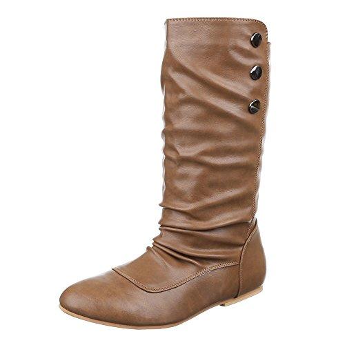 Komfortstiefel Damen Schuhe Klassischer Stiefel Blockabsatz Leicht Gefütterte Ital-Design Stiefel Camel
