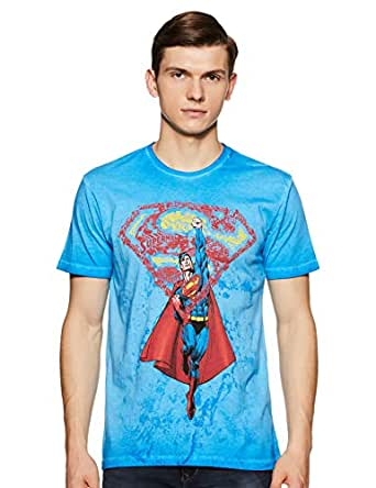 Superman by Free Authority Men's Printed Regular Fit T-Shirt