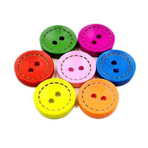 Suboer Mixte Bouton en Bois 2 Trous Forme Coloré Lot de 100pcs
