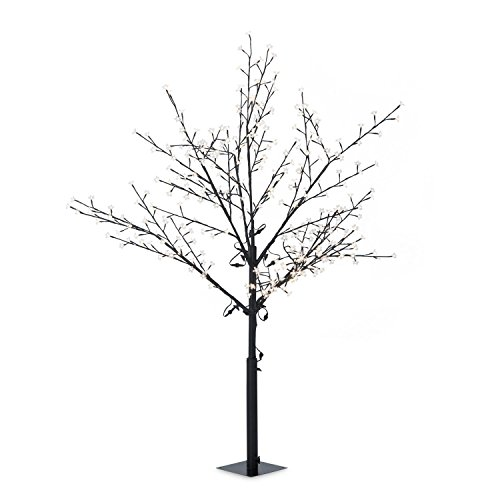 Blumfeldt hanami ww 180 - decorazione natalizia, albero illuminato, illuminazione esterna, design fiori ciliegio, 336 led, bianco caldo, 1,8 m altezza, fili flessibili, 10 m, nero