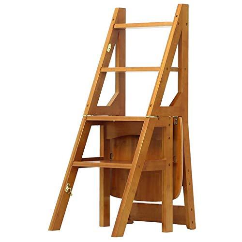 GYX-Klappstufen Multifunktion 4 Tier Falten Leiter Stuhl Haushalt Küche Trittleiter, Schuh Shlf, Blumenständer (Farbe: Nussbaum hell, Größe: 36,5x37,5x90cm) - Esszimmer Nussbaum Barhocker