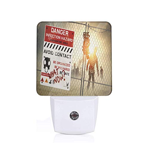Dark Danger Scary Scene Fiction Halloween Infection Picture Plug-in LED Night Light Lamp with Dusk to Dawn Sensor, Night Home Decor Bed Lamp ()