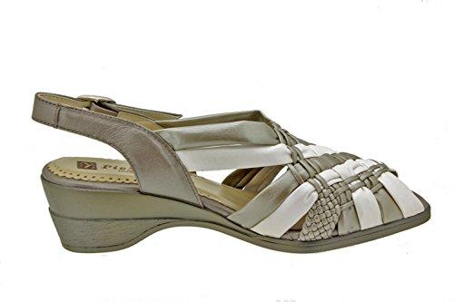 Scarpe donna comfort pelle Piesanto 2562 sandali comfort larghezza speciale Titanio