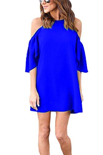 Le Donne Casuale Semplice Freddezza Fuori Ufficio Turno Camicia Vestito Blue