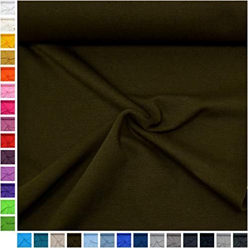 (MAGAM-Stoffe ''Emma'' Bündchen-Stoff Uni | 30 Farben | Feinstrick-Bündchen | Beste Öko-Tex Qualität | Meterware ab 50cm (21. Dunkelbraun))