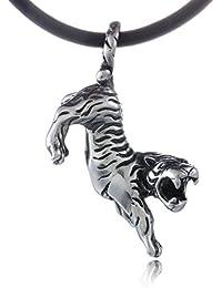 DonDon Herren Halskette Kautschuk 50 cm und Anhänger Tiger aus Edelstahl verpackt in einem schwarzen Samtbeutel