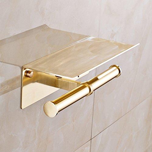 WHUA Gold Antiken Toilettenpapierhalter Multifunktions Verlängert Handy Toilettenpapierhalter,Gold -