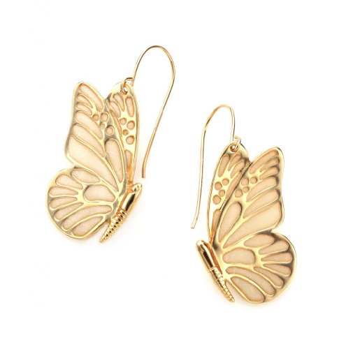 Boucles d'Oreille Papillon Pendantes - Bijoux en Argent fin Plaqué Or et Fimo Nacré