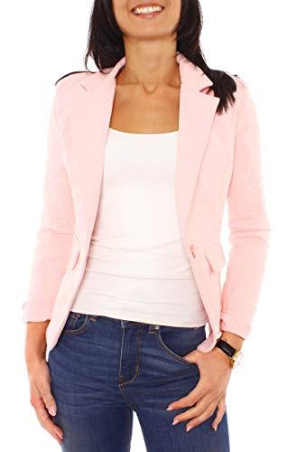 Easy Young Fashion Damen Sommer Sweat Jersey Blazer Jacke Sweatblazer Jerseyblazer Sakko Kurz Gefüttert Langarm Uni Einfarbig Pfirsichrosa XS - 34 (S)