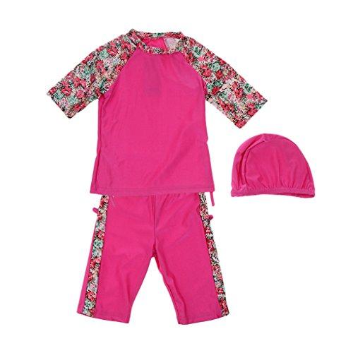 MagiDeal Kinder Mädchen Burkini dreiteiliger Badeanzug Muslim Bademode - Rose Rot, 130cm