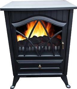 900W/1800W Electric Fireplace Heater with Flame Fire Effect Burner Look Fan Heat