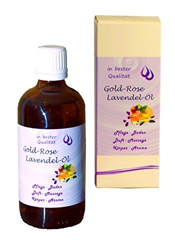 Gold-Rose-Lavendel-Öl - 100ml - Massageöl Badeöl Körperöl Einreibung Duftöl - mit Jojobaöl und Vitamin E