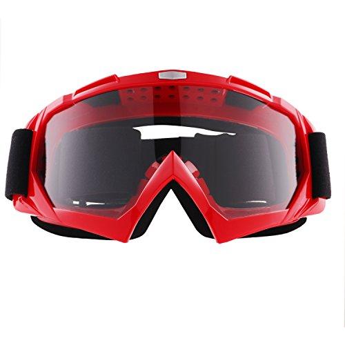 sijueam® Winter Motorrad Ski Snowboard Brillen über Gläser Military Tactical CS Shooting Eyewear UV-Schutz kratzfest Anti Nebel Outdoor Ausreit Radfahren Motorrad Ausrüstung Mehrfarbig Red-Clear Lens