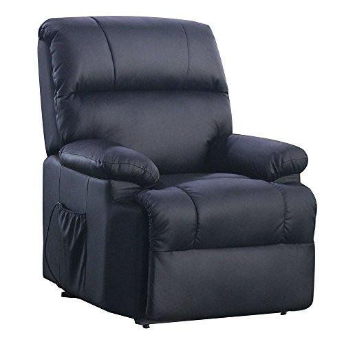 Massagesessel mit Wärmefunktion und elektrischer Aufstehhilfe - Fernsehsessel Relaxsessel Massagestuhl TV-Sessel - Kunstleder Farbwahl (schwarz)