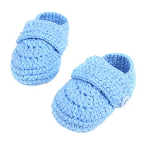 Bigood 1 Paar Strickschuh One Size Strick Schuh Baby Unisex süße Muster 11cm Knopf Grau Blau K