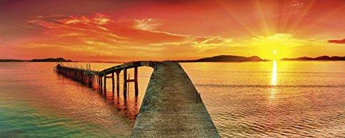 ndbild Deco Glass Olga Khoroshunova Sonnenaufgang über dem Meer. Pier im Vordergrund. Panorama Landschaften Gewässer Fotografie Orange A7QW (über Den Hügel Dekorationen)
