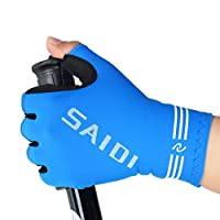 JJH Summer fitness sports gloves women bodybuilding weightlifting dumbbells cycling half finger breathable antiskid gym training M Blue