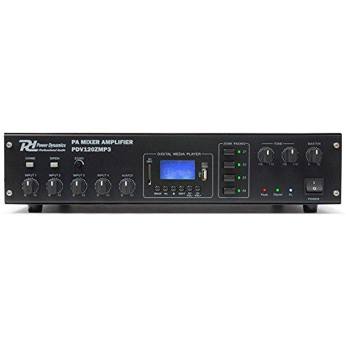 Power Dynamics PDV120ZMP3 4-Kanal PA-Verstärker Karaoke Endstufe (120W RMS, USB-SD-Slot, UKW-MW-Radio-Tuner, 2-Band Equalizer, Echo-Effekt, MP3-Bediensektion, XLR- und Klinke Mikrofon-Eingänge) schwarz