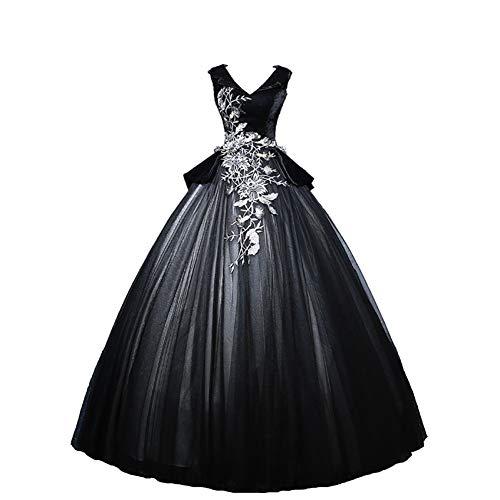 Kleid Ball Belle Kostüm - QAQBDBCKL Schwarz Samt Organza Stickerei Medieval Kleid Renaissance-Kleid Königin Kostüm Victorian/Marie Belle Ball