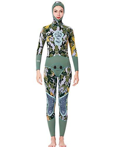 UR MAX BEAUTY Camo Spearfishing Wetsuits Damen 5Mm Neopren 2-Teiliger Super Stretch Tauchanzug Mit Kapuze,M