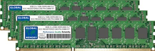 GLOBAL MEMORY 6GB (3 x 2GB) DDR3 800MHz PC3-6400 240-PIN ECC Registered DIMM (RDIMM) ARBEITSSPEICHER RAM KIT FÜR Servers/WORKSTATIONS/MAINBOARDS (3 RANK KIT CHIPKILL) -