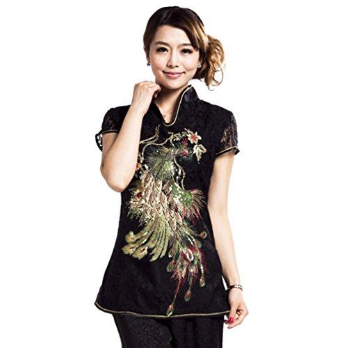 ACVIP Damen Kragen mit Phönix Mustern Schlank Kurzarm Spitze Chinesische Bluse (EU 44/ Chinese 3XL)
