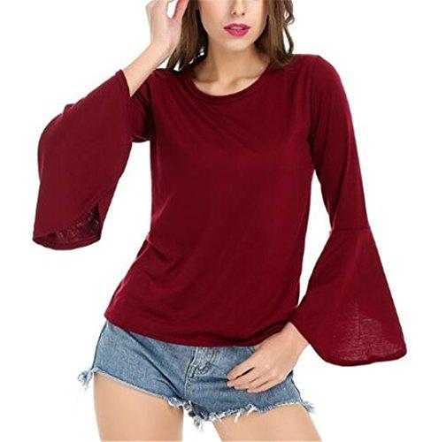 Kerlana Blouse Femme Col Rond Manches Longues Shirt Tops Casual Chemisier Sexy Blouses Couleur Unie T-shirt Manches de haut-parleur red