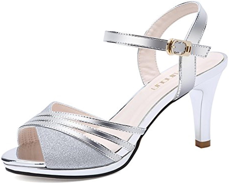 Sandalias de Las Mujeres Tacones Altos Punta Abierta Estilo Romano Sandalias Zapatos de Moda de Verano al Aire... -