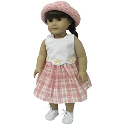 Pink Plaid Dress with Pink Straw Hat. Fits 18