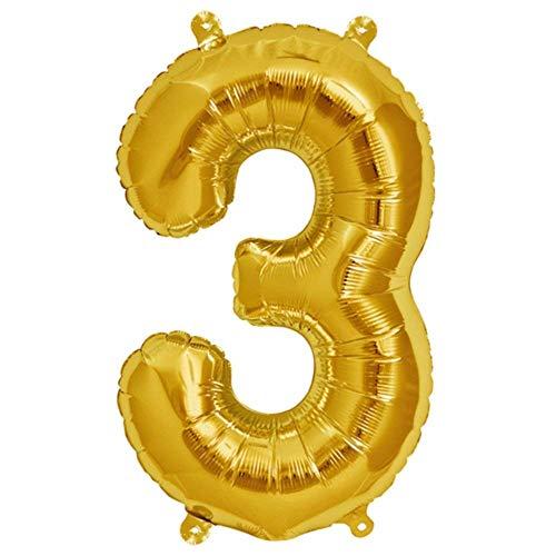 Folienballon Gelb-Gold | Zahl 3 | Ballon für Luft und Helium | XL 70 x 15 cm | Geburtstag Hochzeitstag Jubiläum Geschenk Abschluss Party Überraschung