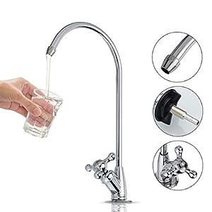 Aissimio – Grifo para Fregadero de Cocina, diseño Moderno, Cromado, se Adapta a Todos los Sistemas de Filtro de Agua y Cromado