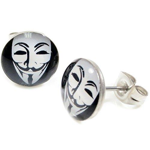 Cameleon-Shop - Ohrstecker Edelstahl - Maske Guy Fawkes - V Vendetta - ()