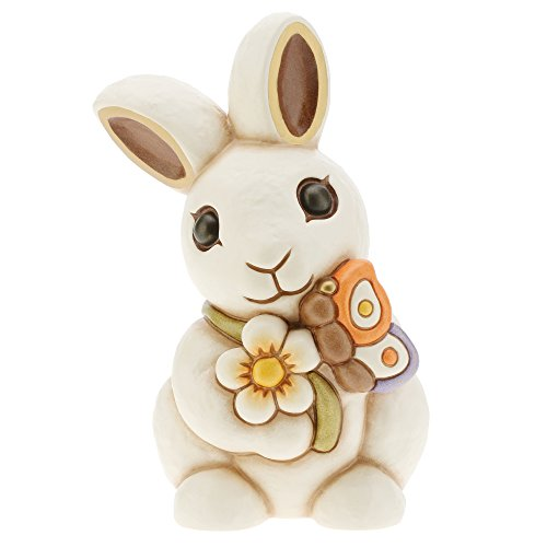 THUN I Classici Coniglio con Fiore e Farfalla, Ceramica, Multicolore, 17.2 x 14.5 x 23.5 cm